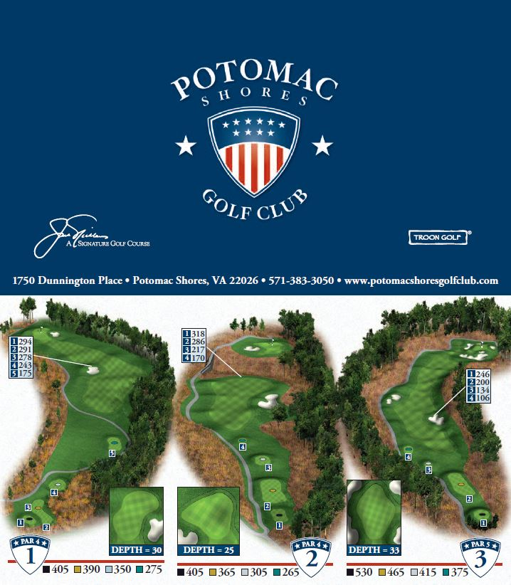 Overview for holes 1-3 at Potomac Shores Golf Club