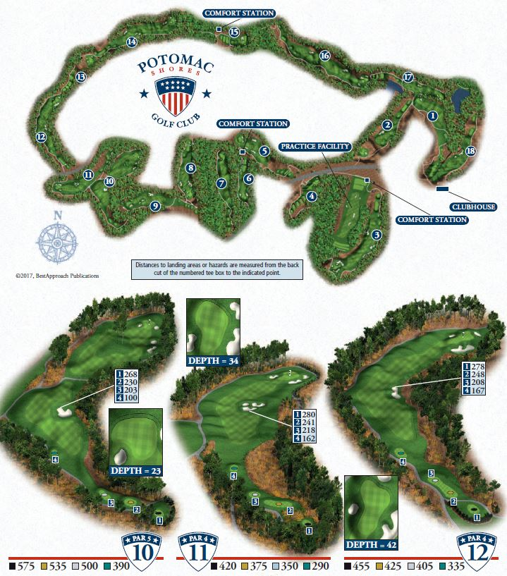 Overview for holes 10-12 at Potomac Shores Golf Club